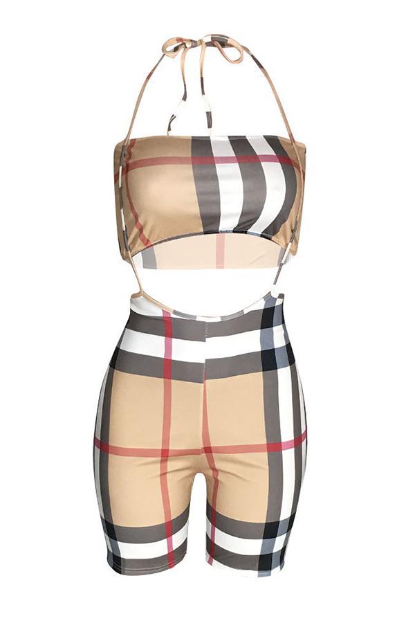 Lovely Sexy Spaghetti Straps Plaid Printed Khaki Two-piece Shorts Set