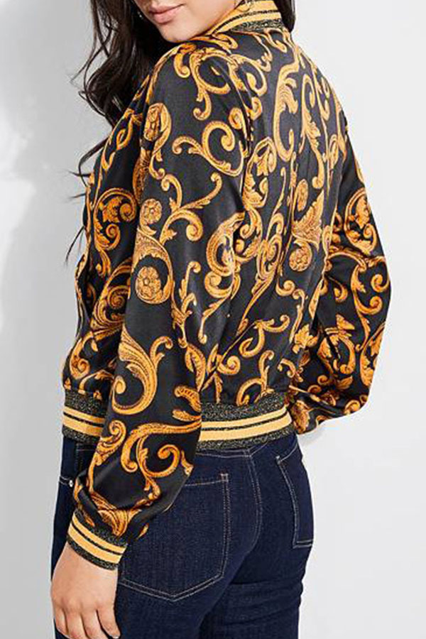 Lovely Casual O Neck Printed Patchwork Black Jacket