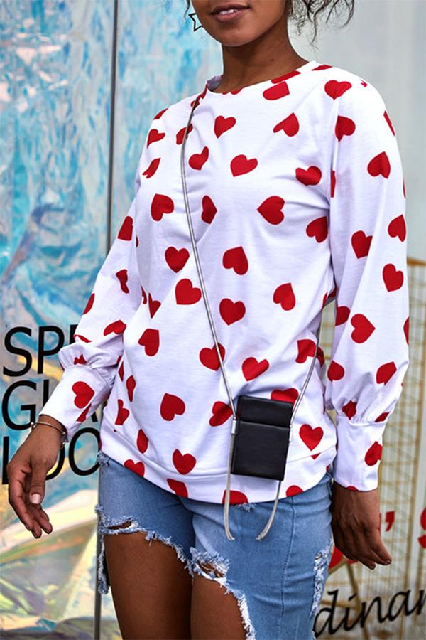 Lovely Fashion Round Neck Heart-shaped Printed White Blending T-shirt