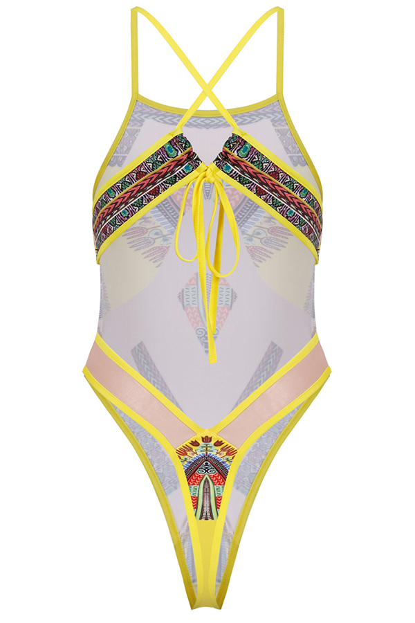Lovely Printed See-through Yellow One-piece Swimwear