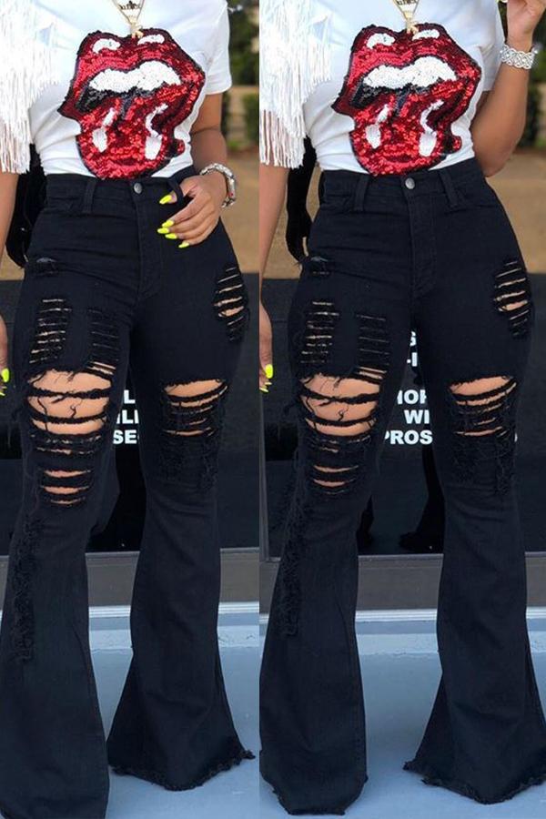 Lovely Leisure Broken Holes Black Jeans