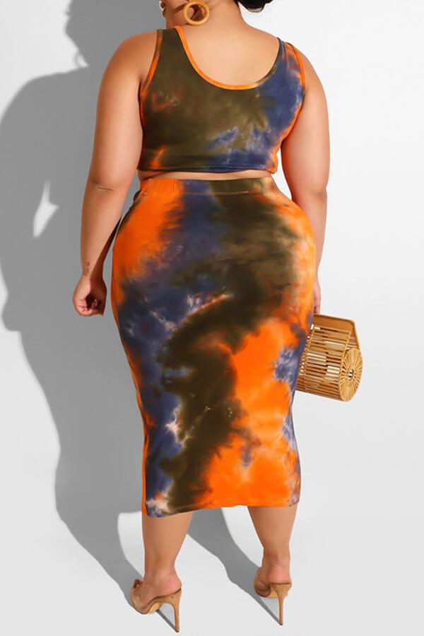 Lovely Casual Tie-dye Croci Plus Size Two-piece Skirt Set