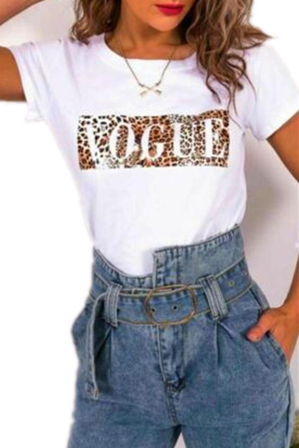 Lovely Casual O Neck Leopard Printed White T-shirt