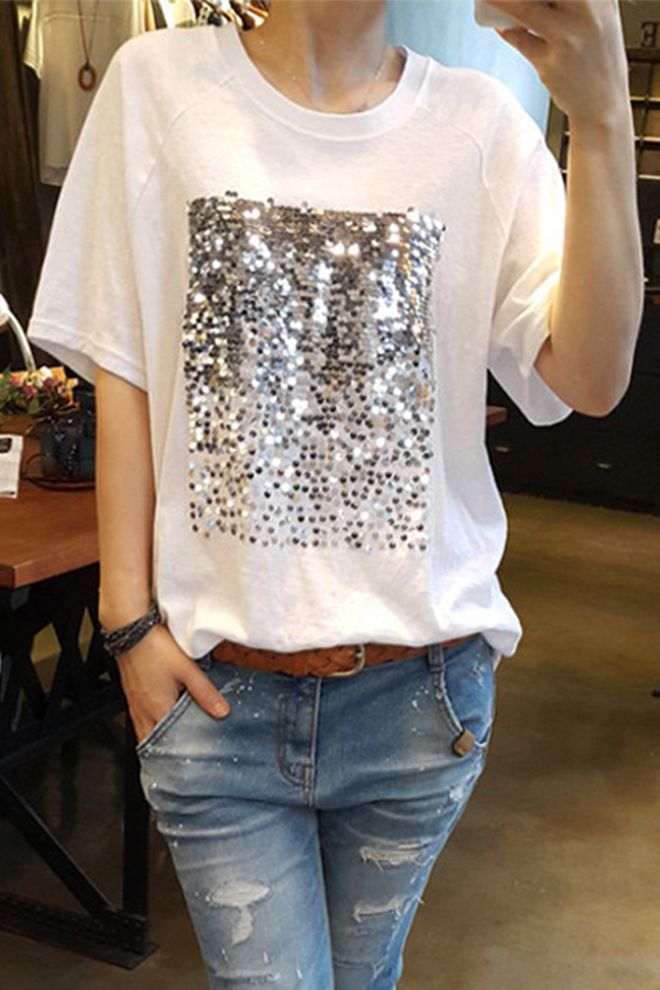 Lovely Casual O Neck Sequins Decoration White T-shirt