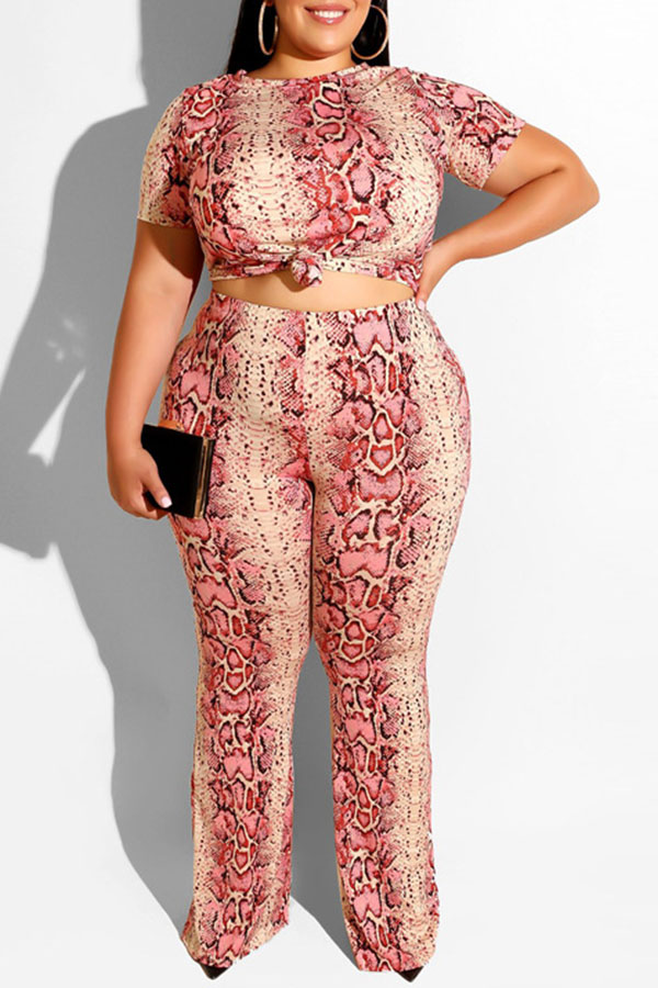 Lovely Casual Snakeskin Pattern Printed Pink Plus Size Two-piece Pants Set