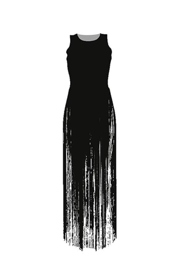 Lovely Chic Tassel Design Black Blouse