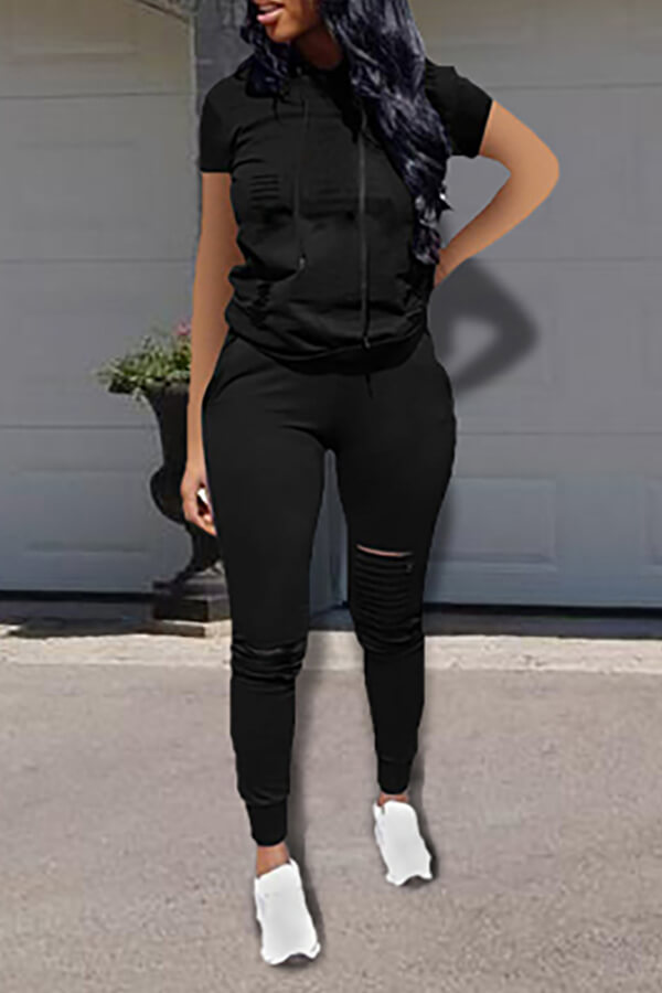 Lovely Casual Hooded Collar Broken Holes Black Two-piece Pants Set