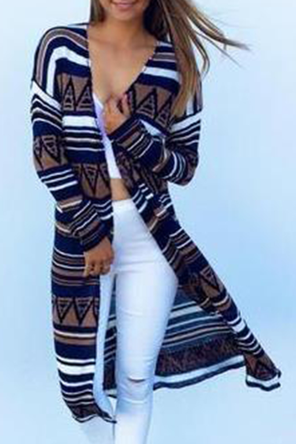 Coat&Jacket Lovely Casual Striped Printed Multicolor Cotton Coat фото