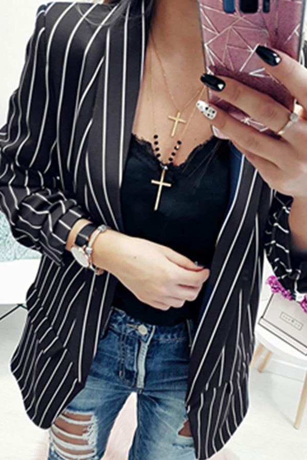 Lovely Stylish Striped Black Jacket