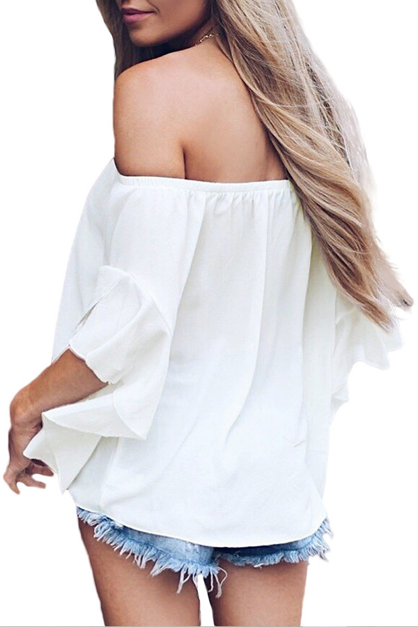 Lovely Stylish Off The Shoulder White Blouse