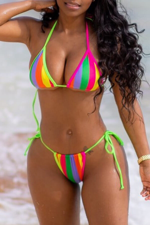 Lovely Halter Neck Striped Multicolor Two-piece Swimwear