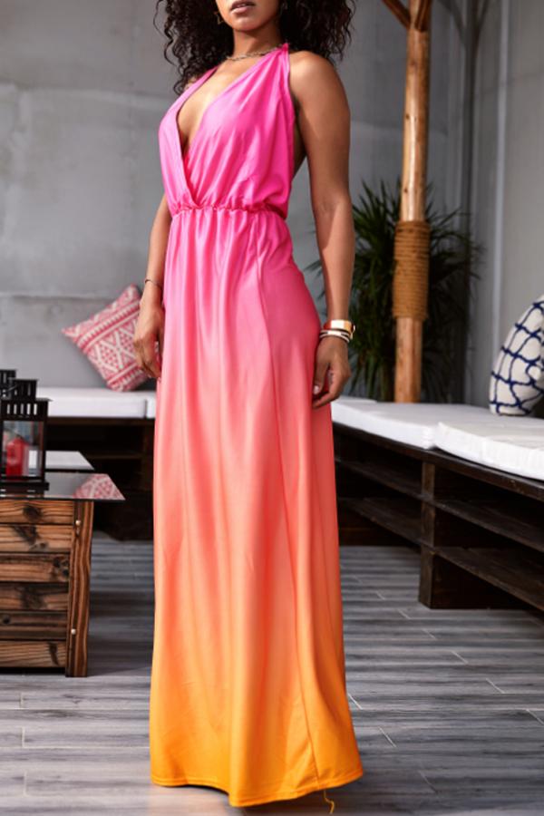 Lovely Bohemian Sexy Deep V Neck Backless Rose Red Floor Length Prom Dress