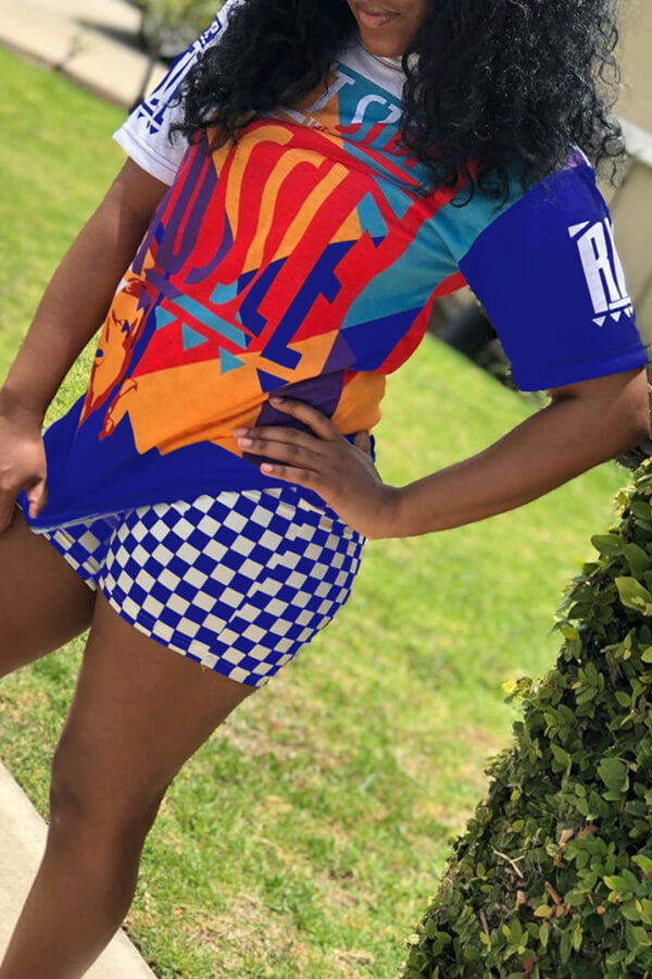 Lovely Casual Printed Plaid Blue Two-piece Shorts Set