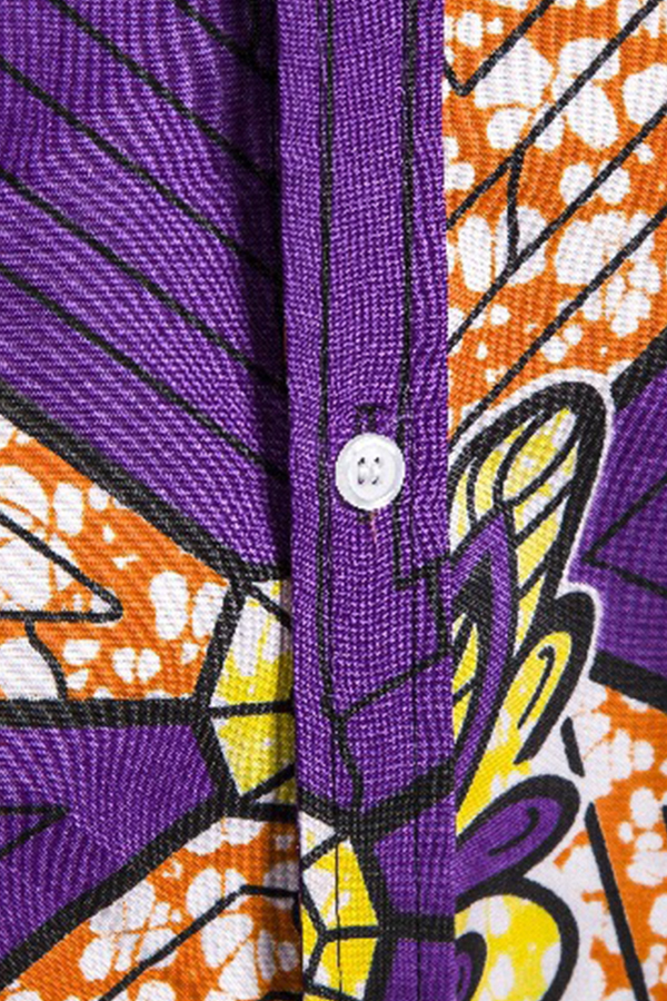 Lovely Casual Short Sleeve Printed Purple Shirt