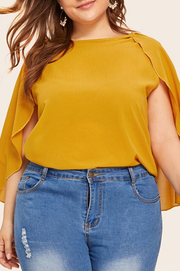 Lovely Stylish O Neck Yellow Plus Size Blouse