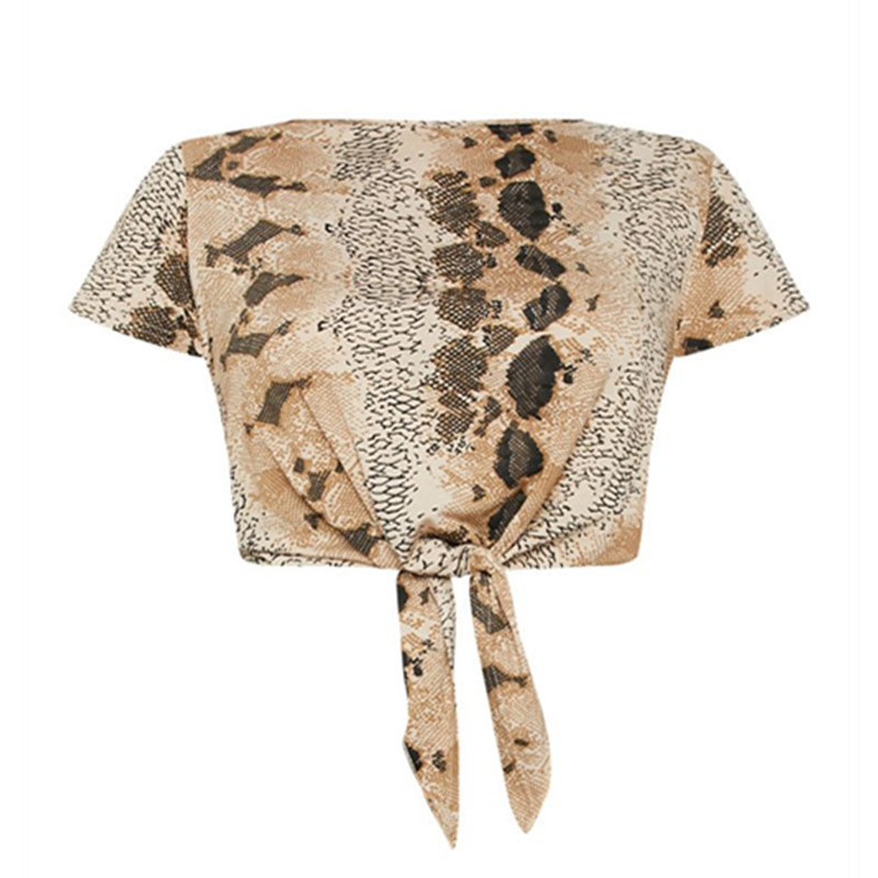 Lovely Casual Snakeskin Pattern Printed Plus Size Blouse