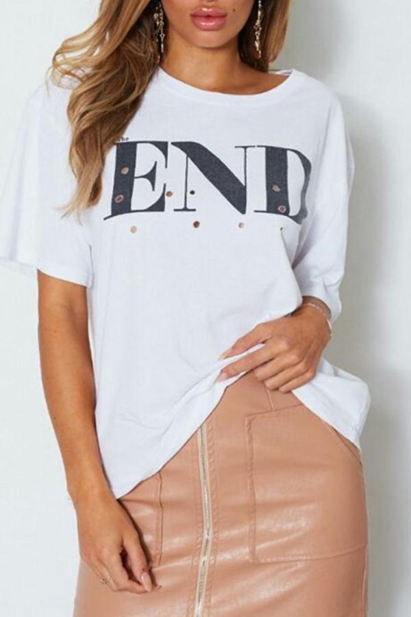 Lovely Leisure O Neck Letter Printed Broken Holes White Plus Size T-shirt