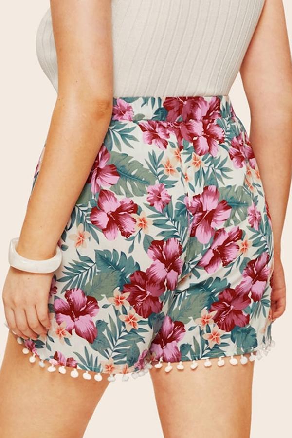 Lovely Bohemian Floral Printed Blue Cotton Plus Size Shorts