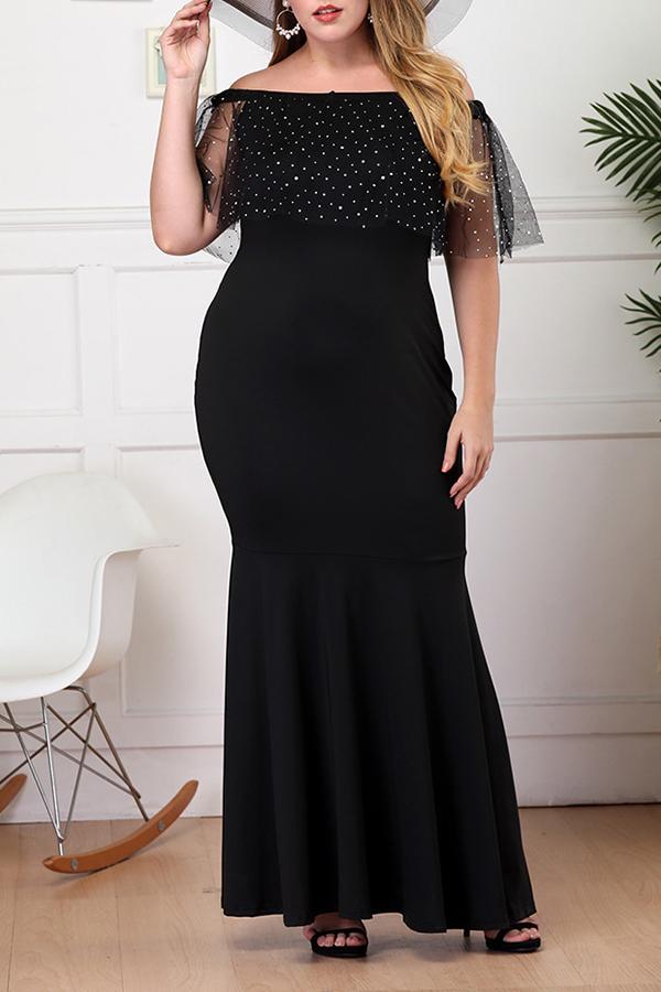 Lovely Vintage Gauze Patchwork Black Floor Length Trumpet Mermaid Plus Size Dress