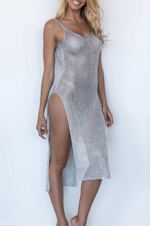 Lovely Sexy V Neck See-through Side Split Silver Ankle Length Prom Dress