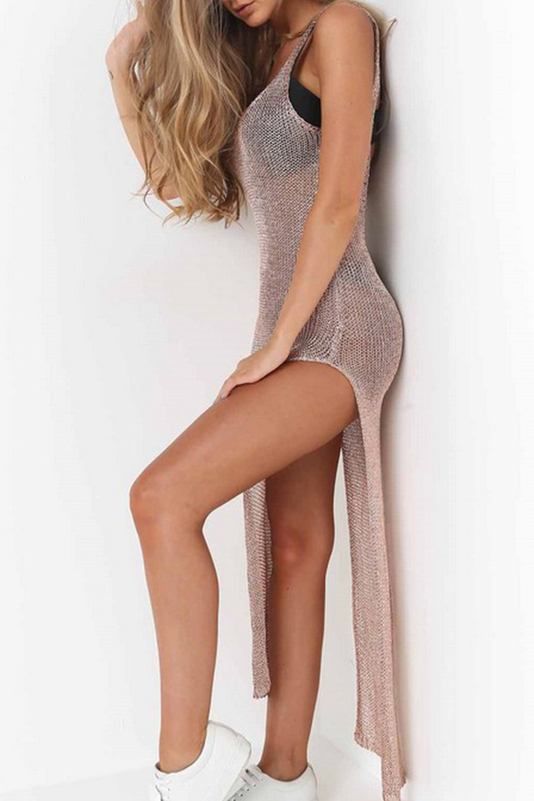 Lovely Sexy V Neck See-through Side Split Gold Ankle Length Prom Dress