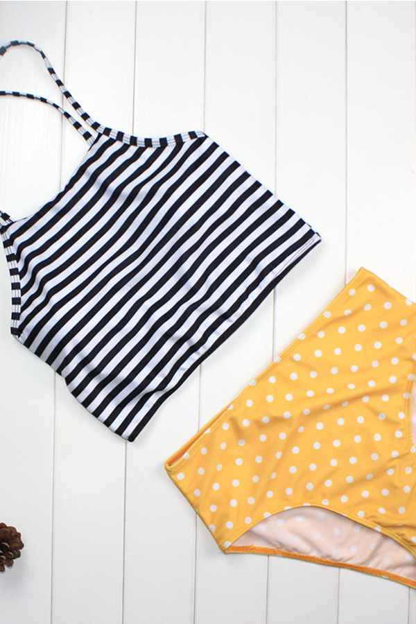 Lovely Halter Neck Striped Dot Printed Yellow Two-piece Swimwear