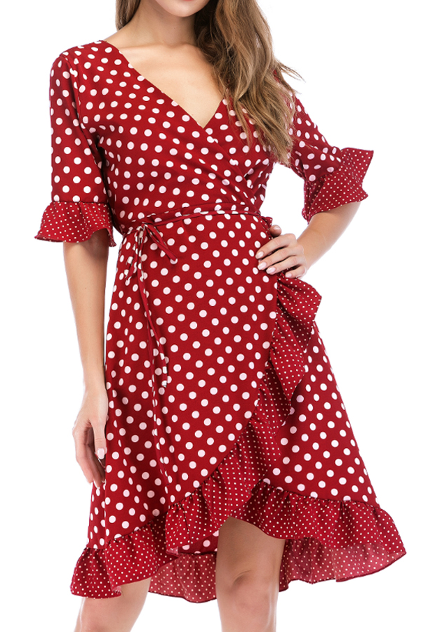Lovely Sweet V Neck Dot Printed Ruffle Asymmetrical Wine Red Mini Dress