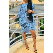Lovely Casual One Shoulder Letter Printed Baby Blue Knee Length Dress