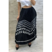 Lovely Casual Letter Printed Black Ankle Length A