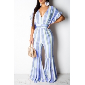 Lovely Sweet Flounce Design Striped Blue One-piece Jumpsuit