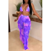 Lovely Printed Ruffle Design Purple Two-piece Swimwear
