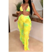 Lovely Print Ruffle Design Yellow Two-piece Swimsuit