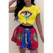 Lovely Leisure O Neck Eye Printed Yellow T-shirt