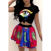 Lovely Leisure O Neck Eye Printed Black T-shirt