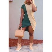 Lovely Casual O Neck Patchwork Asymmetrical Mini Dress
