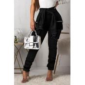 Lovely Stylish High Waist Lace-up Black Jeans