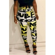 Lovely Casual High Elastic Letter Printed Yellow P