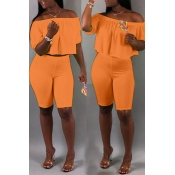 Lovely Casual Off The Shoulder Croci Two-piece Shorts Set