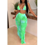 Lovely Printed Ruffle Design Green Two-piece Swimwear