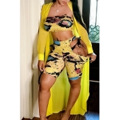 Lovely Sexy Printed Hollow-out Yellow Two-piece Sh