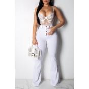 Lovely Stylish High Waist Buttons Design White Jea