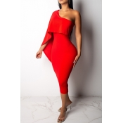 Lovely Stylish One Shoulder Red Knee Length Prom D