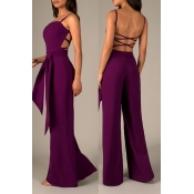 Lovely Sexy Hollow-out Purple One-piece Jumpsuit