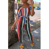 Lovely Trendy Striped Multicolor One-piece Jumpsui