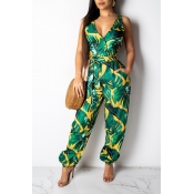 Lovely Leisure Floral Printed Green One-piece Jump
