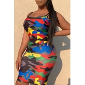 Lovely Casual Camouflage Printed  Multicolor Knee Length Dress