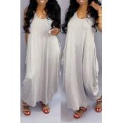 Lovely Casual U Neck Grey Ankle Length Dress