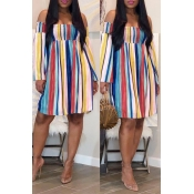 Lovely Casual Off The Shoulder Striped Multicolor