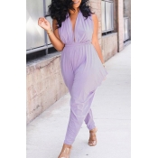 Lovely Casual V Neck Hollow-out Purple One-piece J