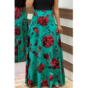 Lovely Stylish High Waist Floral Printed Green Ank